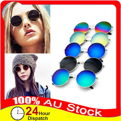 Unisex Vintage Retro Men Women Round Metal Frame Sunglasses Glasses Eyewear Hot