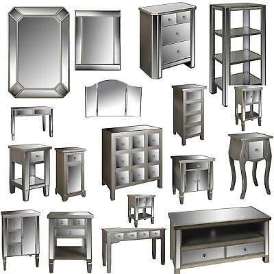 Mirror furniture 2 door 3 drawer sideboard mirrored chest - Living room with mirrored furniture ...