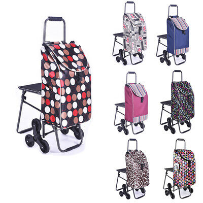 New Foldable Shopping Luggage Cart Trolley Bag Wheels with Chair Waterproof UDD