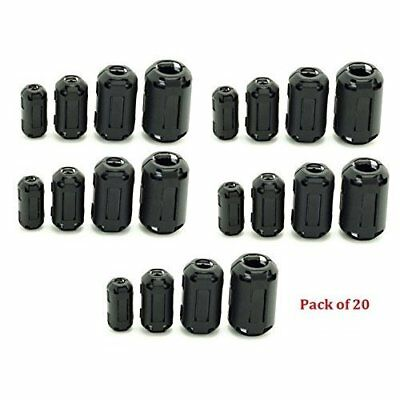 AUCH 20Pcs Clip-on Ferrite Ring Core Black RFI EMI Noise Suppressor Cable Clip
