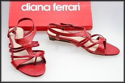 Diana Ferrari Women's Red Wedged Heel Sandals Shoes Size 9