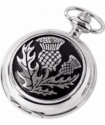Woodford Pewter Thistle Mechanical Double Hunter Pocket Watch