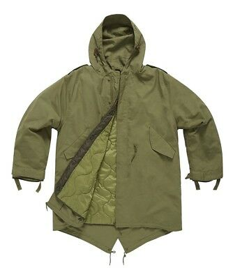 M51 Vintage Retro Fishtail Parka With Quilted Liner Green. Sizes XS-3XL