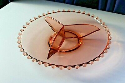 Imperial  Glass Co Pink Depression Glass Candlewick Pattern Divided Platter