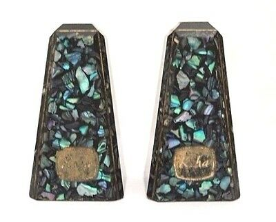 Retro Koha Souvenir Salt & Pepper Shakers Paua Shell From New Zealand