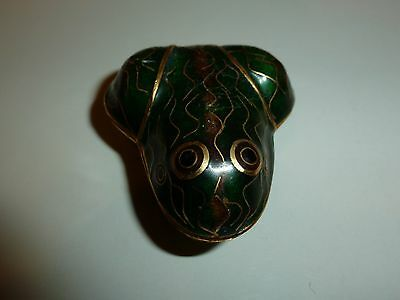 Miniature Cloisonne-like Frog Hinged-lid Trinket Box