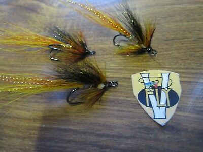 3 V Fly Size 10 Ultimate RV Black Francis Double Salmon Flies