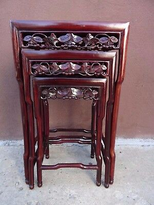 3 VTG Antique Chinese Hand Carved Rosewood Nesting Tables 19th Century Asian