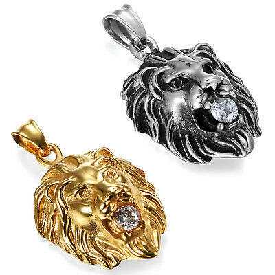 Punk Stainless Steel Gold Silver Tone Lion Head Pendant Necklace with CZ for Men