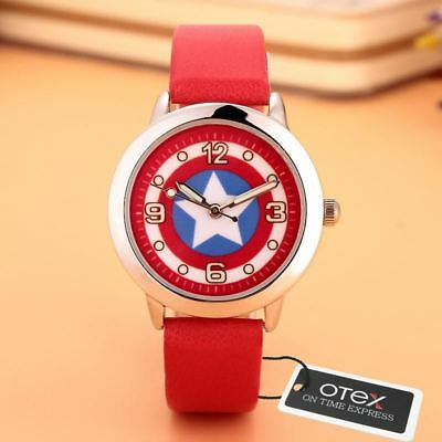 CHILDREN'S WATCHES Captain America Leather Strap Wrist Watch for Kids