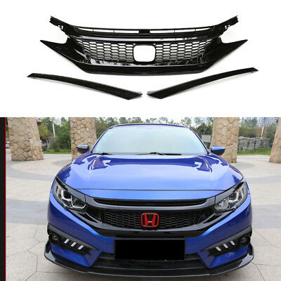 For 2016-17 Honda Civic 10Th Gen Jdm Ctr Style Glossy Blk Mesh Front Hood Grille