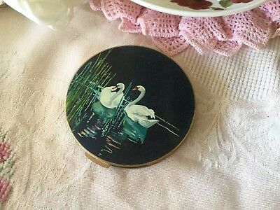 vintage pinup makeup STRATTON gold and enamel powder compact with white swans