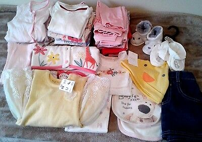 Job Lot Baby Girls Clothes  37 Items Bundle   3 / 6 Mth Mothercare Nutmeg M&co