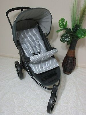 Handmade pram liner set,universal,100% cotton fabric-Grey polka dot-Funky babyz