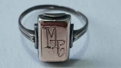 E589 Cute Vintage Sterling 10kt  Art Deco Initials Ring Size: 6.25