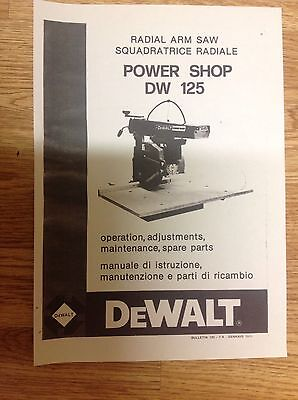 DeWALT DW125  Powershop Radial Arm Saw - Manual Booklet 24 Page Free P & P