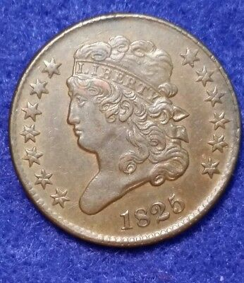 1825 Classic Head Half Cent - ABOUT UNCIRCULATED
