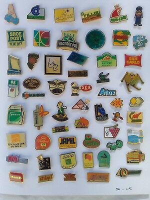 Lot de 55 pin's publicitaires divers avec attaches - ( 56.012 )