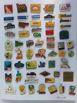 Lot de 55 pin's publicitaires divers avec attaches - ( 58.016 )