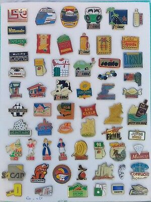 Lot de 60 pin's publicitaires divers sans attaches - ( 60.021 )