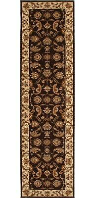 STUNNING FORMAL FLORAL DESIGN RUG RUNNER BROWN 80x300cm **FREE DELIVERY**