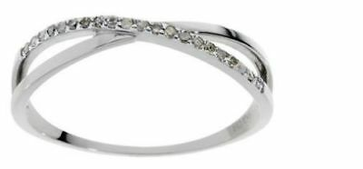 Ladies 9CT White Gold 0.10CT Diamond Crossover Ring NEW
