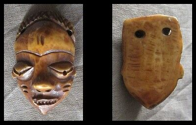 Old PENDE Tribal Ikhoko Ikoko (C) Mask Pendant Bead - CONGO - early 1900