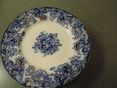 "Alfred Meakin Ormonde Scalloped Embossed Flow Blue Gold 8"" Plates 1890 Set of 11"