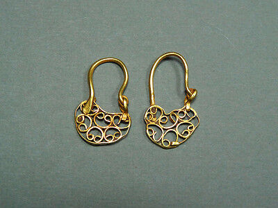 Ancient Gold Earrings Open Work Design Byzantine 400-600 Ad