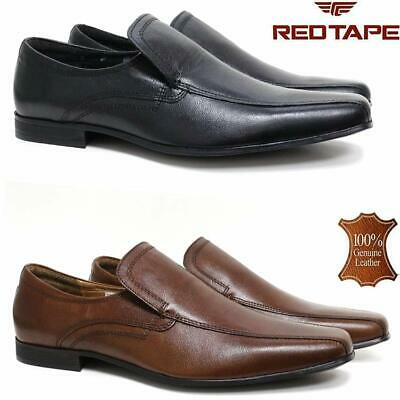 Mens Red Tape Leather Shoes Smart Office Wedding Work Formal Party Slip On Shoes