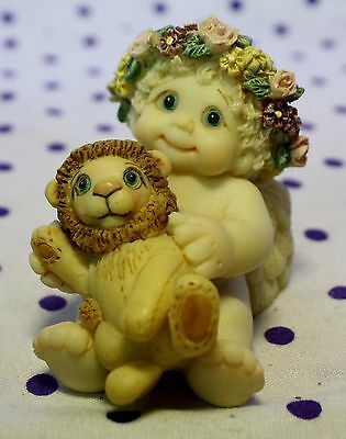 Dreamsicles Angel Cherub Figurine Holding LION Teddy Bear Sitting Cuddling 10410
