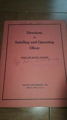 Oliver die filer installation and operating instructions