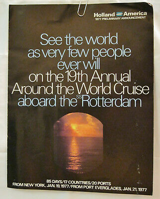 See The World 19th Annual Around the World Cruise ss Rotterdam 85 days 1977