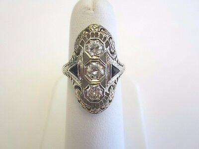Antique Vintage 18K White Gold Filigree Ring W/ 3 Diamonds And Sapphire Accents