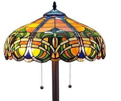 Baroque Floor Lamp Tiffany Style Warm Colorful Stained Glass Amber Lighting Bell