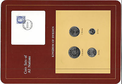 Coin Sets of All Nations Sweden 1983  - 1985 UNC w/card 5 kronor 1985 1 krona 85