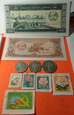 Vietnam coin stamp and banknote lot 1964 1 & 10 dong &1966 5 dong, flower stamps