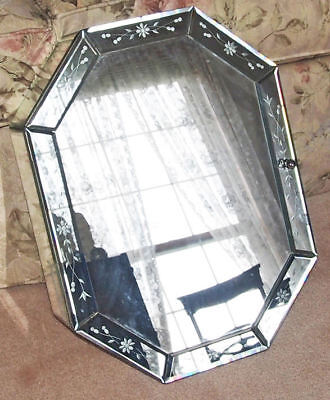 Decorative Venetian Glass Mirror Perfume Wall Cabinet vintage not perfect