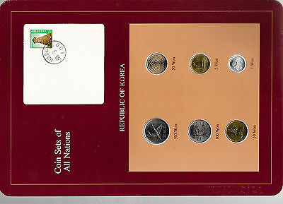 Coin Sets of All Nations Korea all 1983 but 500 Won 1984 100 Won 1982 UNC