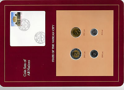 Coin Sets of All Nations Vatican w/card UNC 500, 200,100 Lire 1991 50 Lire 1990