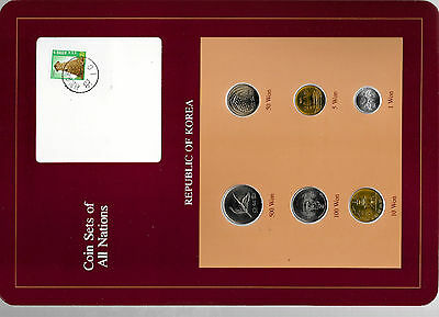 Coin Sets of All Nations Korea w/card UNC 1980-1984 10 Won 1980 500,100 Won 1984