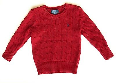 Polo Ralph Lauren Boys Cable Knit Sweater Size 4, Red