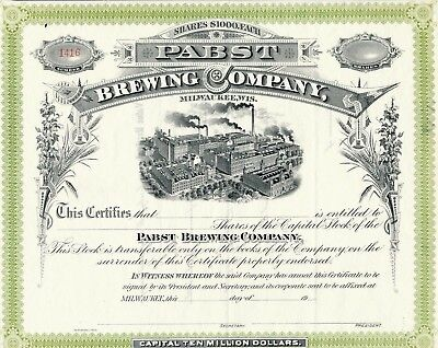 PABST BREWING COMPANY Common Stock Certificate