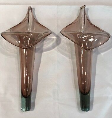"2 Vtg Deco Nouveau Glass Wall Sconce Vase Murano Glass Lilly 14.5"" T"