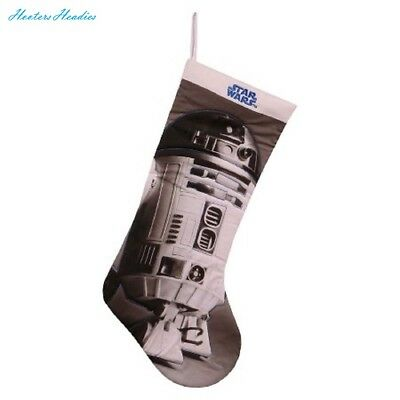 Star Wars R2D2 Realistic Black and White Embroidered Christmas Stocking