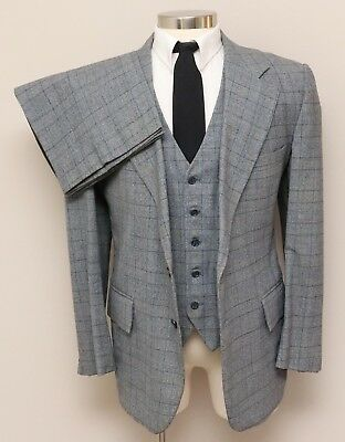 Vintage Mens 42R Cricketeer 3 Piece Blue/Grey Multicolor Glen Check Wool Suit