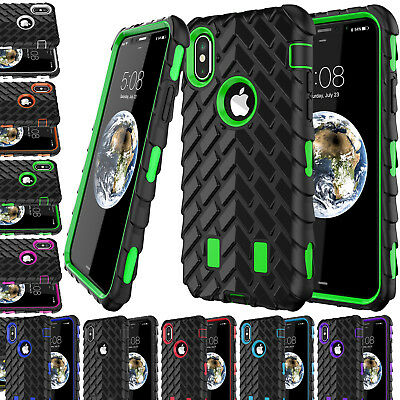 Heavy Duty Tyre Rugged Workman Shock Proof Builder Case Cover For iPhone X / 10