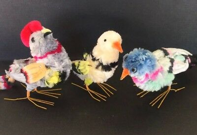 3 Vintage Colorful Chenille Birds Crafts Holidays