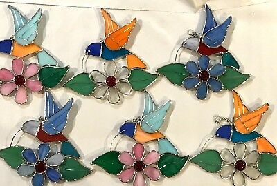 6-Piece Set Stained Glass 6  inch Hummingbird  Sun Catchers  [9046-11]