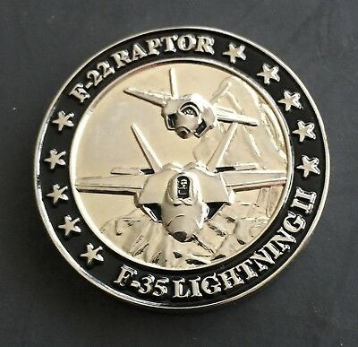 Lockheed Martin F-22 Raptor F-35 5 Gen Fighters Medal Token Coin Plane Aircraft
